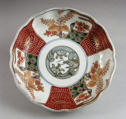 Beautiful Ko Imari Bowl w/Kiri and Dragon design 19c